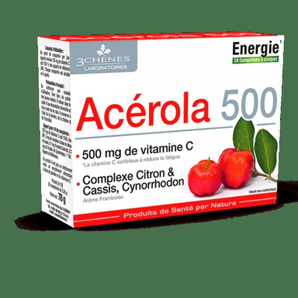 Acerola 500, prehransko dopolnilo s C vitaminom, 24 pastil
