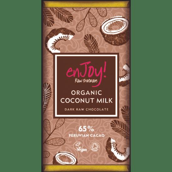 Enjoy! Presna organska čokolada s kokosovim mlekom, 80g